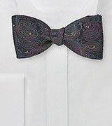 Winding Paisley Bow Tie in Blue Black