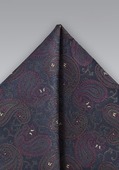Ornate Pocket Square in Navy and Purple