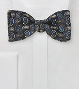 Regal Paisley Bow Tie in Black and Navy