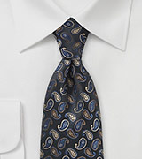 Mini Paisleys Tie  in Black With Blue Accents