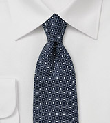 Pure Silk Navy Tie with Square Design