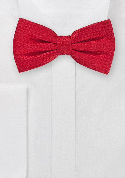 Bright Red Bow Tie with Basket Weave Texture