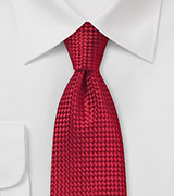 Bold Red Basket Weave Textured Tie