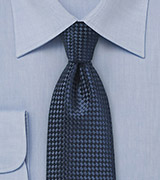 Basketweave Tie in Solid Navy