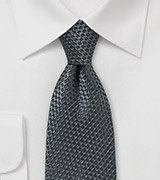Smoke Gray Textured Silk Tie