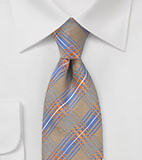 Modern Plaid Tie in Tan, Orange, Blue