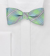 Designer Plaid Bow Tie in Light Greens and Blues