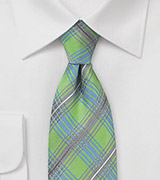 Plaid Tie in Lime, Silver, and Light Blue