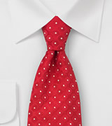 Laco silk tie red/white dots