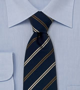 Laco silk tie fine beige stripes on dark blue
