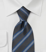 Charcoal gray tie with blue stripes  Handmade necktie by Laco/ Germany