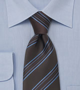 Taupe colored tie with light blue stripes  Handmade necktie by Laco/ Germany