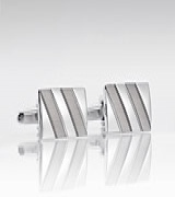 Elegant Silver Cufflinks with Striped Design