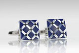 Graphic Print Cufflink Set in Blue