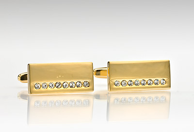 Gold and Pave Styled Cufflinks