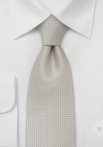 Wedding tie <br> Festive silk tie in platinum silver