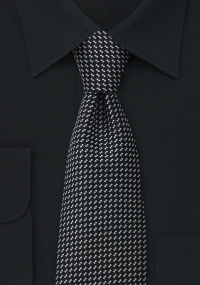 Black patterned tie <br> Black necktie with silver pattern
