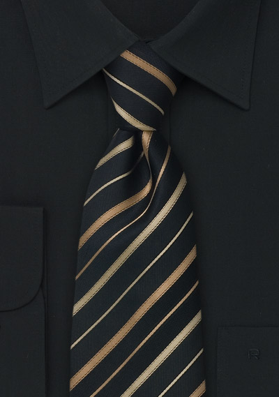 Extra long striped tie<br>XL Black silk tie with bronze and copper stripes