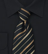 Extra long striped tie XL Black silk tie with bronze and copper stripes