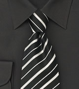 Extra long black tie Extra long silk tie in black with fine white stripes