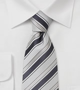 Handmade striped necktie Tie with white, silver, and charcoal gray stripes