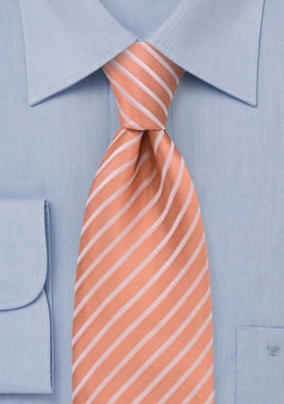 Salmon colored silk tie<br>Handmade necktie in salmon with thin white stripes