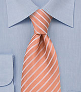 Salmon colored silk tie Handmade necktie in salmon with thin white stripes