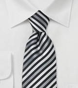 Striped neckties Formal tie in black, white, and silver