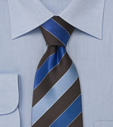 Brown and blue striped silk tie