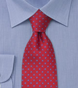 Red silk tie with tiny blue flowers