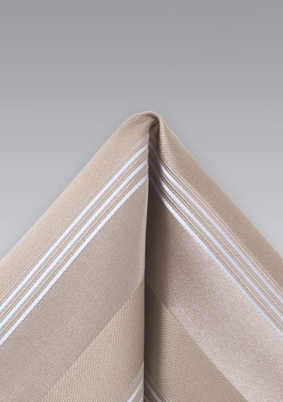 Golden Tan Striped Pocket Square