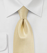 XL Mens Ties Light Yellow Silk Tie in XL