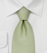 XL designer ties Light green silk tie by Chevalier
