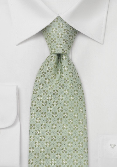 Extra Long Ties<br>Light green necktie by Chevalier