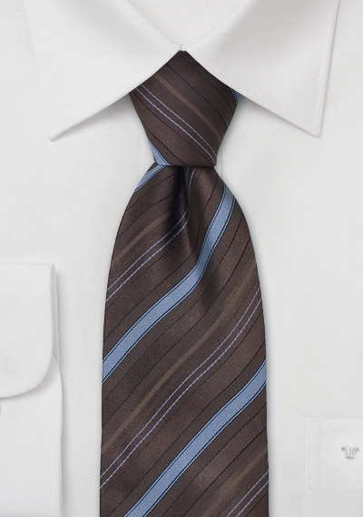striped silk necktie brown and light blue striped silk tie