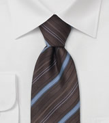 Cocoa Brown and Blue Striped Tie
