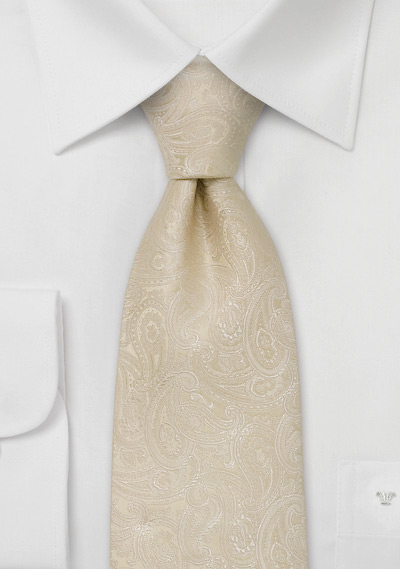 Paisley designer necktie<br> Light tan colored silk tie with paisley pattern