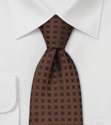 Brand name neckties  Copper brown silk tie by Chevalier