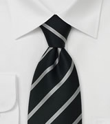 Formal Striped Ties Black silk tie with silver stripes