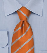 Silver Orange Striped Necktie