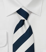 Classic Wide Striped Tie in Navy and White