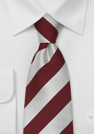 Silver Red Striped Silk Ties<br>Striped Necktie by Parsely