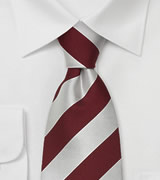"Wide Striped Tie ""Lighthouse"" - Silver & Wine-red"
