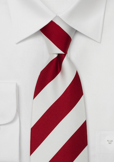 Clip On Neck Ties<br>Red & White Pre-Tied Necktie