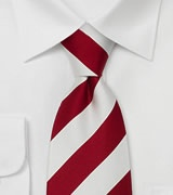 Clip On Neck Ties Red & White Pre-Tied Necktie