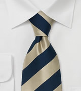 Gold Blue Silk Ties Striped Necktie in Gold & Blue