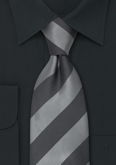 Striped Mens Ties<br>Gray & Silver Striped Silk Tie
