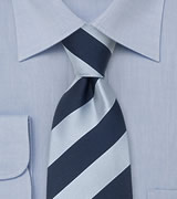 "Blue Extra Long Neckties Striped Tie ""Lighthouse"" by Parsley"