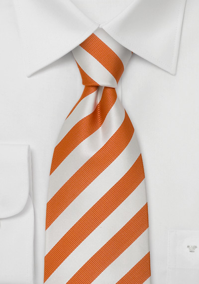 Orange Neckties<br>Orange and white striped tie