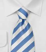 Striped Neckties Light blue & white striped silk tie